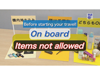 Before starting your travel! On Board Items not allowed.