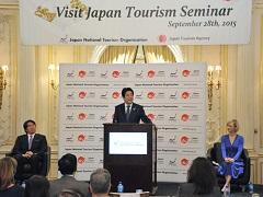 日本政府観光局(JNTO)主催訪日セミナー 安倍総理挨拶-平成27年9月28日