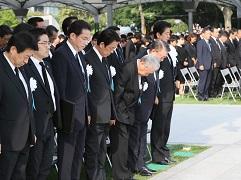 広島市原爆死没者慰霊式並びに平和祈念式参列等-平成28年8月6日
