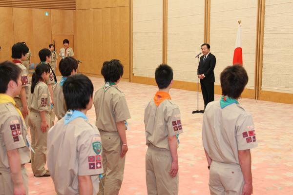 富士章受章代表スカウトによる表敬-平成24年3月28日