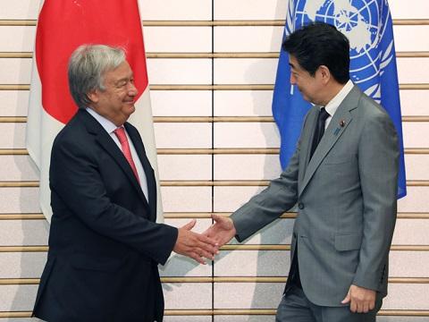 グテーレス国連事務総長との会談等-平成30年8月8日