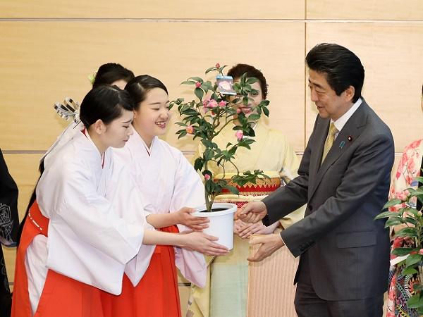 久留米つばきの贈呈-平成31年2月19日
